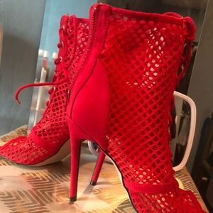 Red Mesh Booties